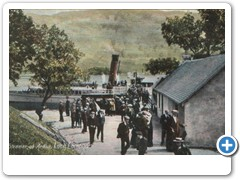 Steamer at Ardlui, Loch Lomond (colour, disembarking)