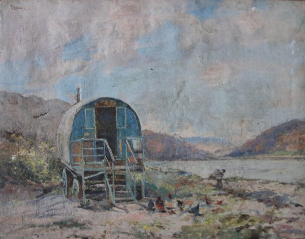 Painting by Barclay Henry of a caravan at The Highlasndman's Height, Arrochar that he subsequently ended up owning