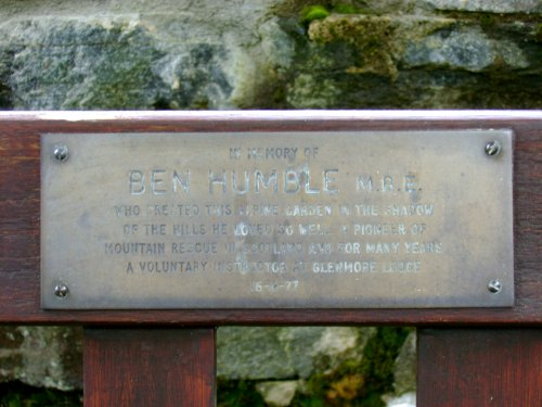 Inscription on Ben Humble's bench at Glenmore Lodge, Aviemore