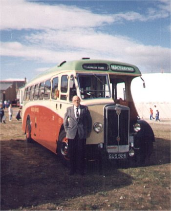 Donald MacCuish with one of the refurbished MacBraynes Glasgow to Campbletown buses GUS926 at Invergordan. In the 50's and 60's it stopped at The Arrochar Hotel