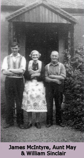 James McIntyre, Aunt May & William Sinclair outside Stonafyne Farm