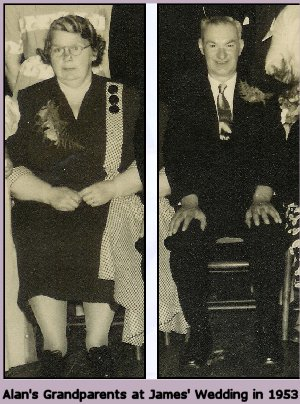 Alan'sgrandfather James and Grandmother at their son's wedding in 1953