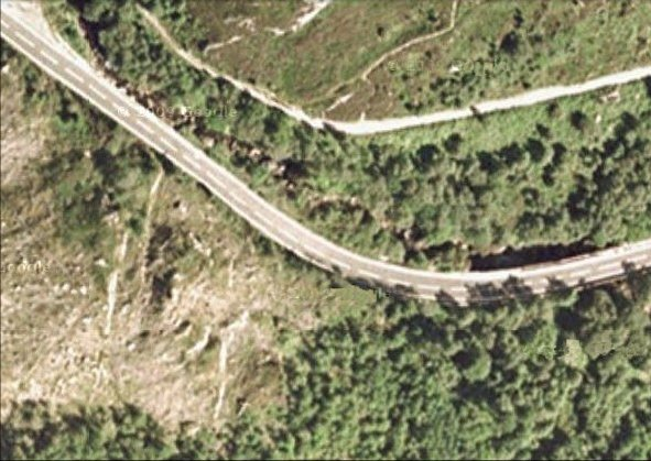 Aerial view of the Honeymoon Bridge on the A83 near Arrochar