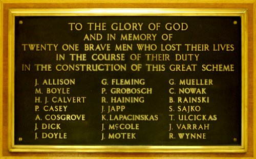 Plaque on display at the Loch Sloy offices in memory of the 21 people who dies in the copnstruction of the scheme