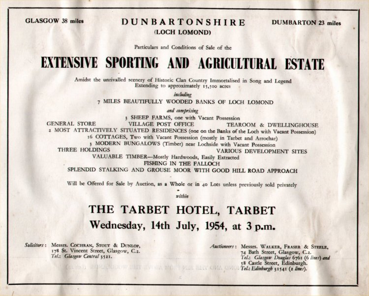 Sale of The Tarbet Estate 1954