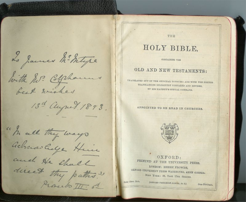 Bible presented to James McIntyre in 1894 by Earl Colquhoun