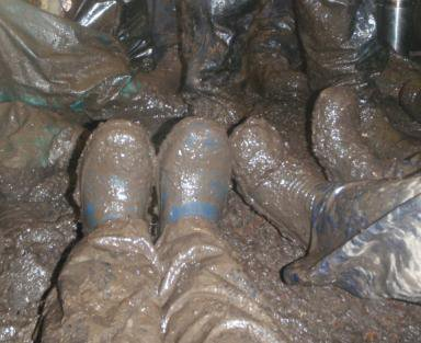 Muddy feet at the Dig at Morlaggan, Arrochar