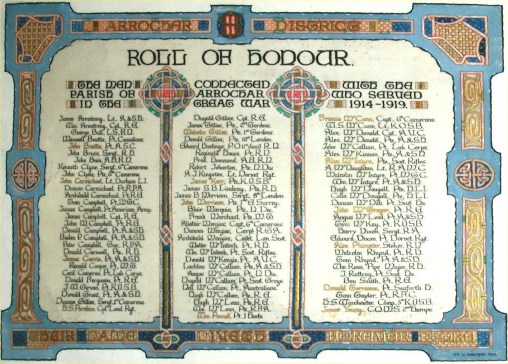 Arrochar Roll Of Honour 1914-1919