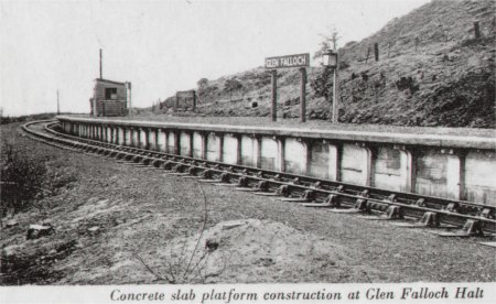 Glen Falloch station showing the concrete slabs